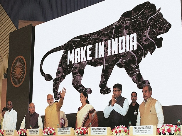 LITTLE PROGRESS: Prime Minister Narendra Modi with members of his cabinet at the launch of Make in India in 2014. For all the hoopla, there is precious little to show for the initiative. Prospects for manufacturing growth are not rosy