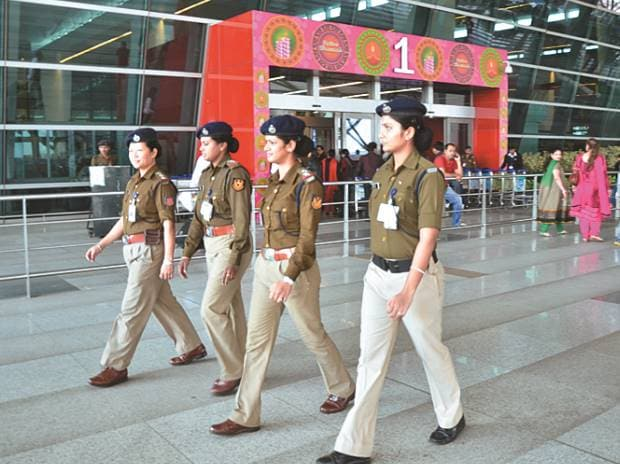 File photo of police personnel at Delhi airport