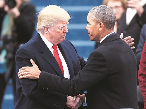 Barack Obama greets Donald Trump at the ceremony to swear in the latter as the 45th president of the United States in Washington on Friday. Photo: Reuters