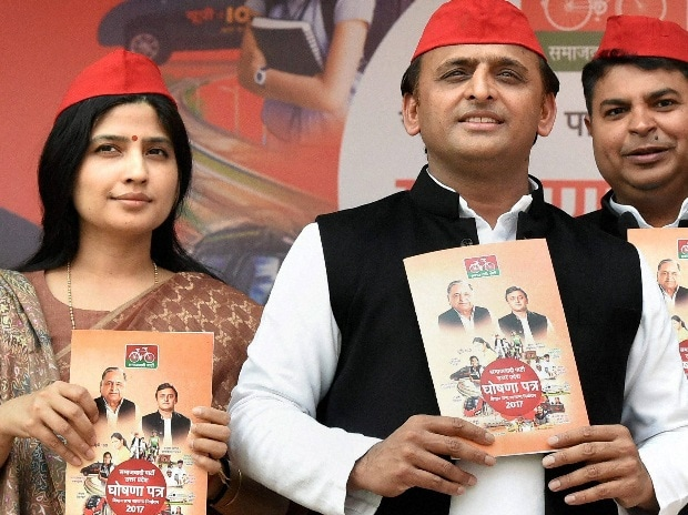Uttar Pradesh Chief Minister and newly appointed party president Akhilesh Yadav unveils party manifesto ahead of Assembly election, in Lucknow (Photo: PTI)