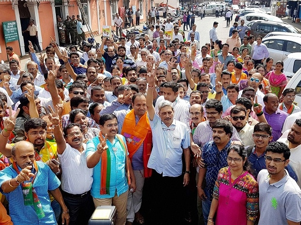 Defence Minister Manohar Parrikar campaigning for BJP during Goa Assembly polls