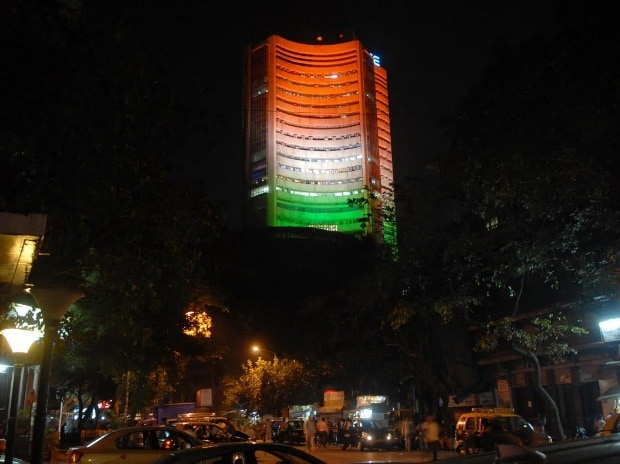 BSE Building lit up in Tricolor on the eve of Republic Day in Mumbai. Photo: Kamlesh Pednekar