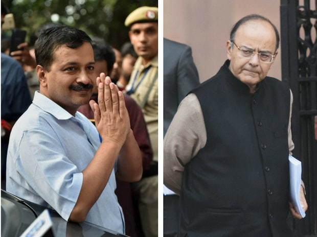 Delhi Chief Minister Arvind Kejriwal and Union Finance Minister Arun Jaitley. Photo: PTI