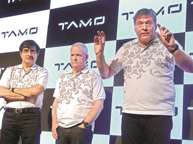 (L-R) Mayank Pareek, president, Passenger Vehicle Business; Tim Leverton, head for Advanced and Product Engineering, and Guenter Butschek, MD & CEO, during a conference in Mumbai on Thursday. Photo: Kamlesh Pednekar