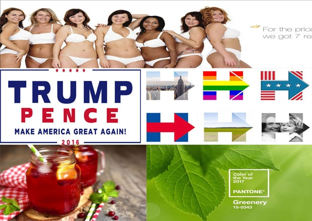 (From top) The advertisement for Dove with 'real' photographs; voters preferred Trump's plain campaign more than Clinton's 'H'; jam jars with cocktails; Pantone's colour of the year