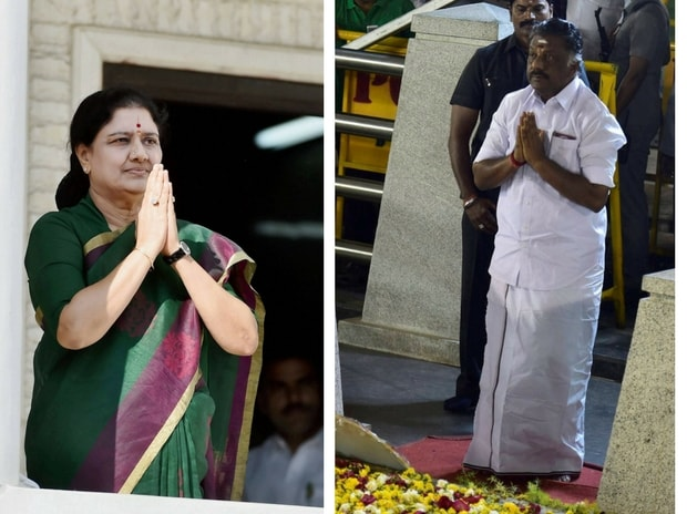 AIADMK interim general secretary VK Sasikala and party leader O Panneerselvam. Photo: PTI