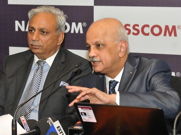 Nasscom Chairman and CEO & MD of Tech Mahindra, C P Gurnani (left), and R Chandrashekhar, President at the Nasscom India Leadership Forum 2017. Photo: Suryakant Niwate