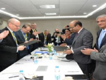 Bharat Electronics and Elbit officials signing offset contract