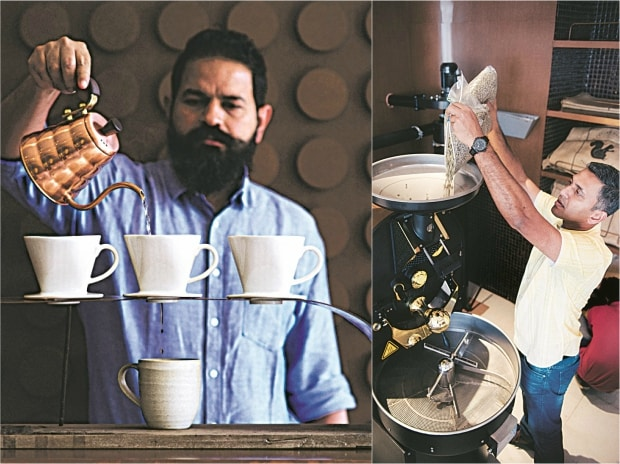 Ashish D'Abreo (left); Tej Thammaiah  roasting coffee beans at The Flying Squirrel