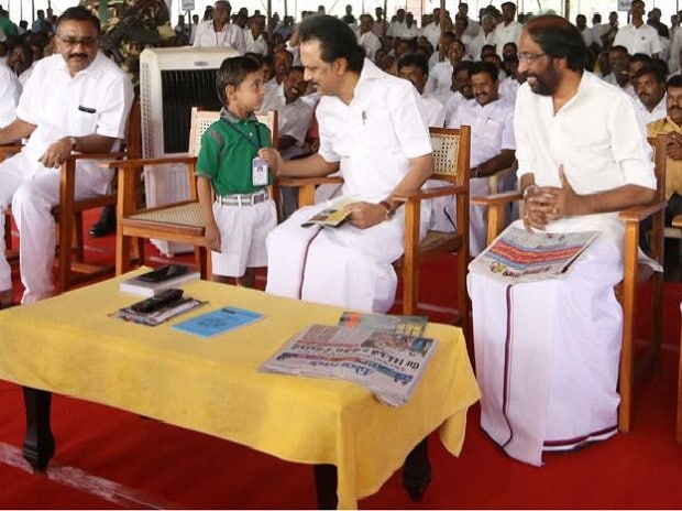 Stalin at the DMK protest in Chennai