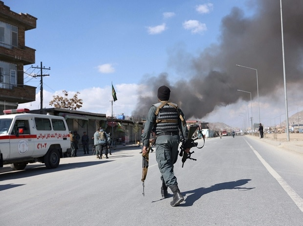 Afghan security forces respond to a suicide attack in Kabul, Afghanistan, Wednesday. Photo: PTI