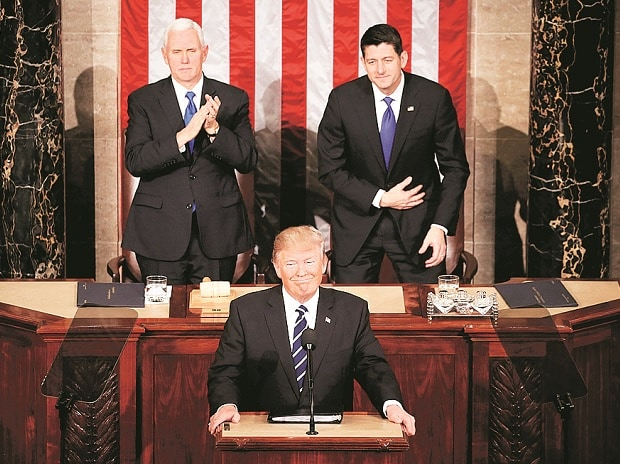 US President Trump addresses Joint Session of Congress. Behind him are  Vice- President Mike Pence (left) and Speaker Paul Ryan (right) (Photo: Reuters)