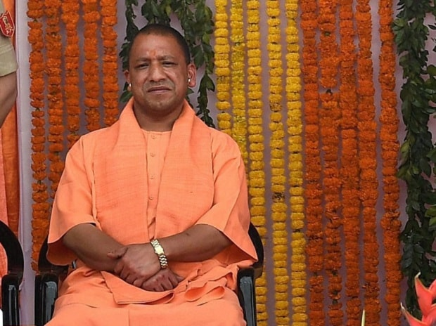 Yogi Adityanath during the oath-taking ceremony in Lucknow