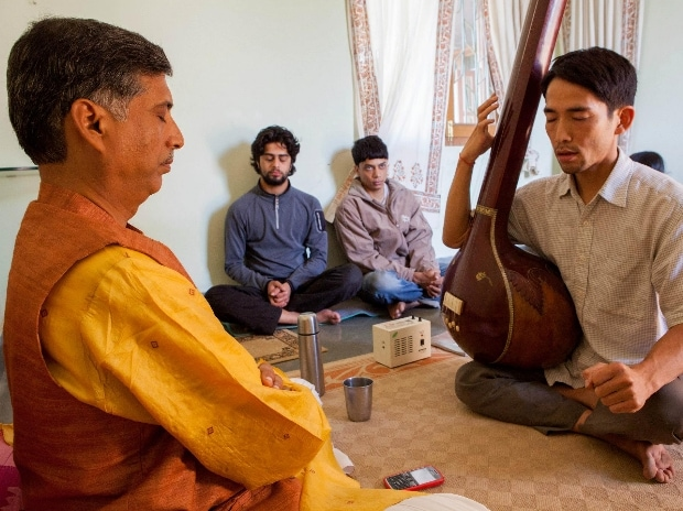 A Dhrupad lesson in progress at the Dhrupad Sansthan in Bhopal