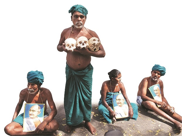 Farmers from Tamil Nadu during a protest at Delhi's Jantar Mantar. Photo: Dalip Kumar