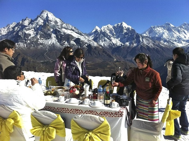 The breakfast spread at Kongde Ri in Nepal. Courtesy: The Exploration Co