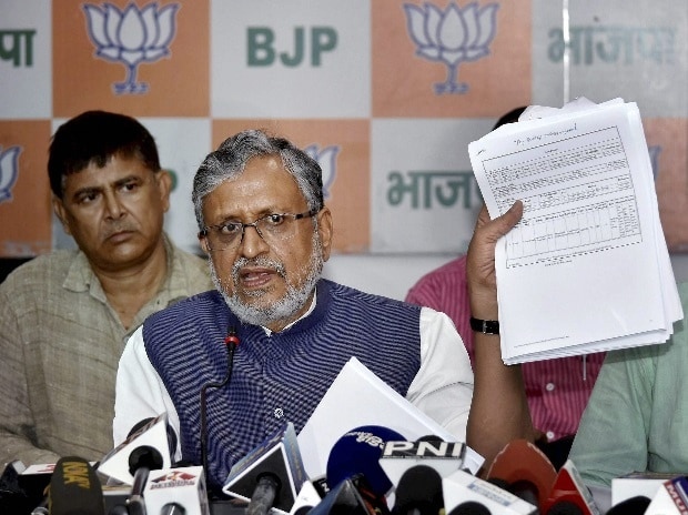 BJP Senior leader Sushil Kumar Modi addressing a press conference in Patna