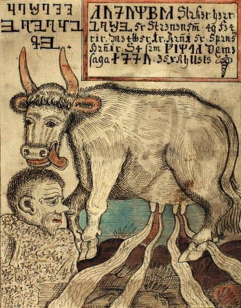 NORDIC NARRATIVE: Audhumla licking Búri out of rime as four rivers of milk pour from her udders. Photo: Wikimedia Commons