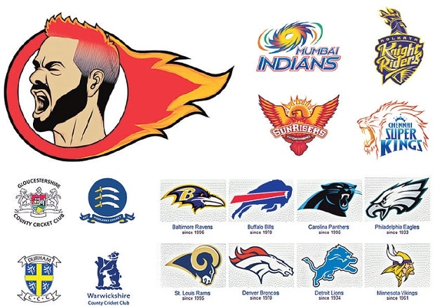 (Clockwise from top) A sketch of the Desi Lions logo expressing the underlying theme of aggression in commercial cricket; Indian Premier League team logos; American National Football League logos; and Natwest T20 Blast team logos