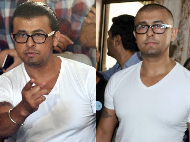 A combo picture of playback singer Sonu Nigam before and after hair-cut during a press conference in Mumbai