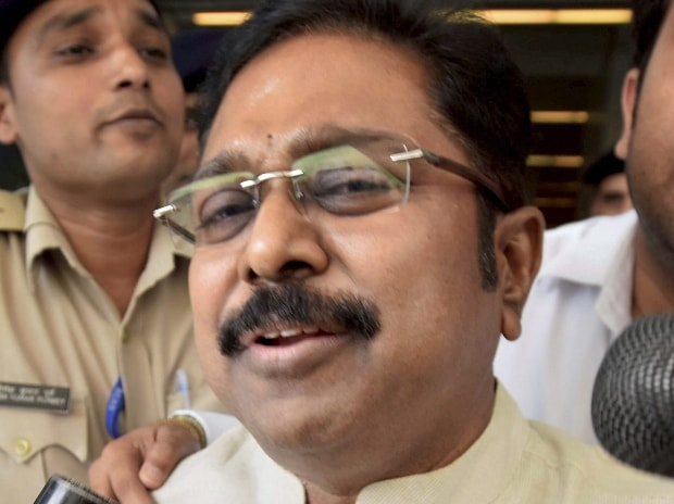 AIADMK leader TTV Dinakaran arrives at IGI airport to appear before Delhi police for questioning in connection with an alleged attempt to bribe an EC official for retaining the two leaves party symbol