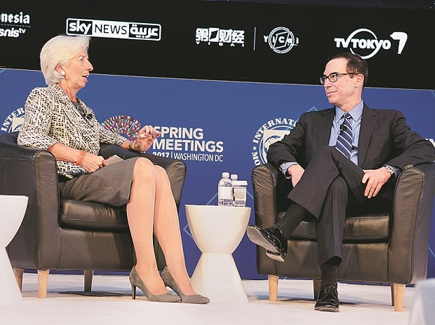 US Treasury Secretary Steven Mnuchin (right) and IMF Managing Director Christine Lagarde at the IMF and World Bank's 2017 Annual Spring Meetings, in Washington (Photo: Reuters)