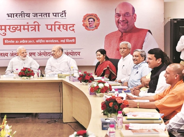 (From left) Prime Minister Narendra Modi with BJP President Amit Shah, External Affairs Minister Sushma Swaraj and party leaders in New Delhi on Sunday.