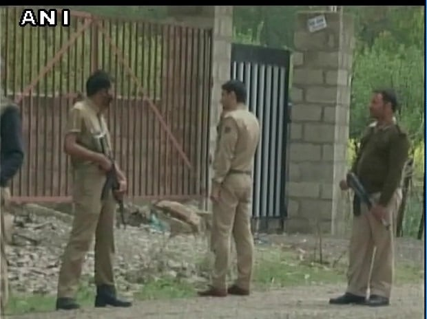 PDP District president Pulwama Abdul Gani Dar attacked by terrorists (Visuals from the site). Photo: ANI