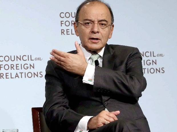 Union Finance Minister Arun Jaitley during a conversations on C Peter Mc Colough Series on International Economics at Council on Foreign Relations in New York City