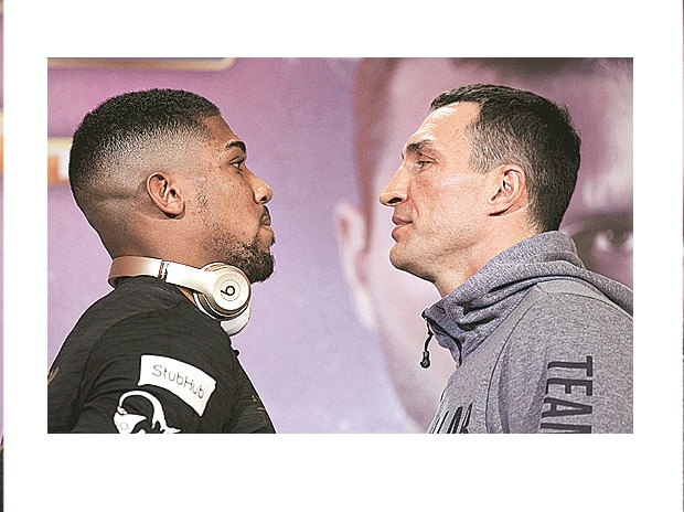 Anthony Joshua (left) and Wladimir Klitschko during a press conference on Thursday (Photo:Reuters)