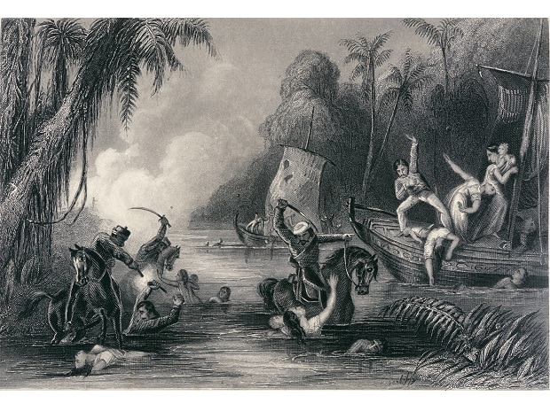 An engraving of the massacre at the Satichaura Ghat on June 27, 1857 following the Siege of Cawnpore (Kanpur). Image, dated 1858, taken from The history of the Indian Mutiny, held and digitised by the British Library. Photo: Charles Ball [CC0] / Wiki
