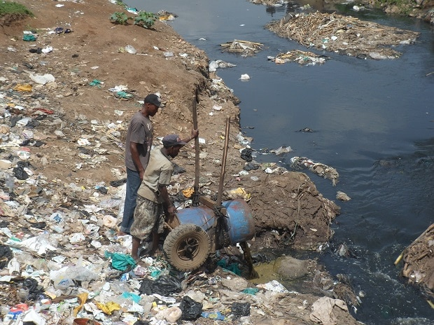 Rivers being polluted by factory waste. Image: Wikicommons