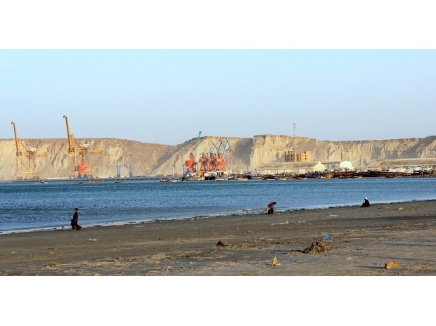 As Gwadar develops in the background, the fisherfolk of Gwadar seem to have no space [image by: Zofeen T Ebrahim]