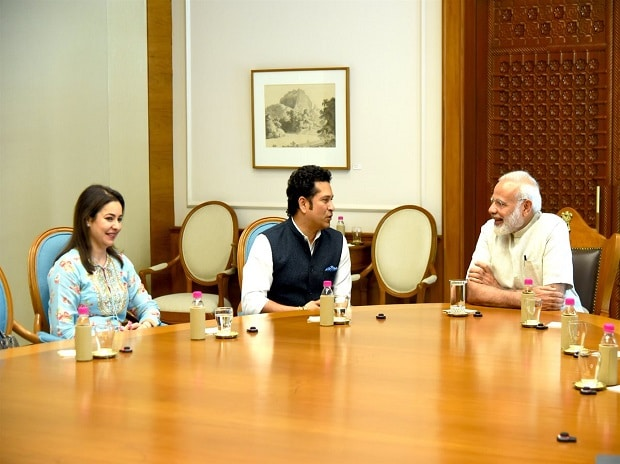 Sachit Tendulkar with PM Narendra Modi. Photo: @narendramodi