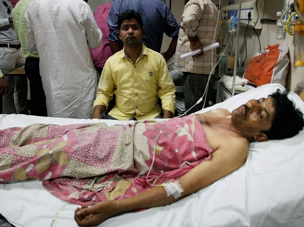 An injured being treated at a hospital in Saharanpur on Wednesday, a day after fresh clashes. Photo: PTI