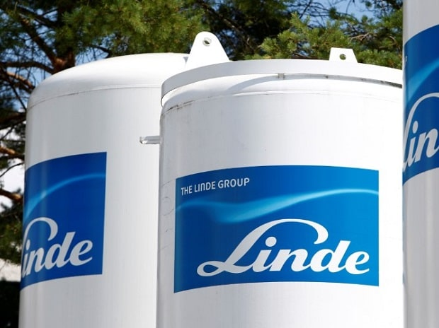 Linde Group logo is seen at a company building in Munich-Pullach, Germany