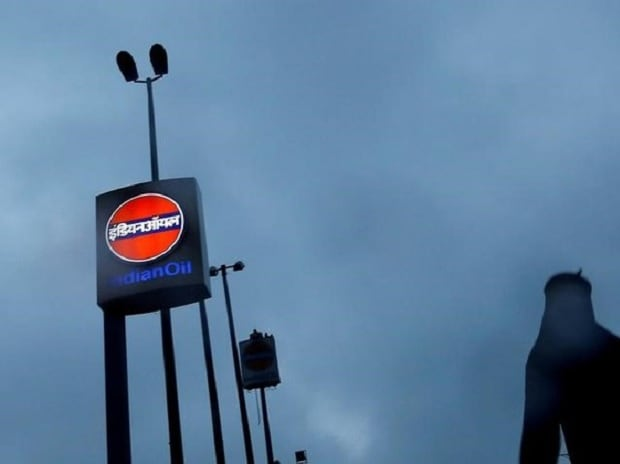 Indian Oil Corporation logo outside a fuel station in New Delhi. Photo: Reuters