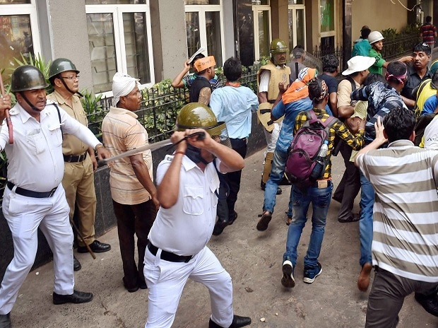 Police baton charge BJP activists during their proposed rally 'March to Lalbazar (Kolkata police headquarters)', to press for their various demands, in Kolkata