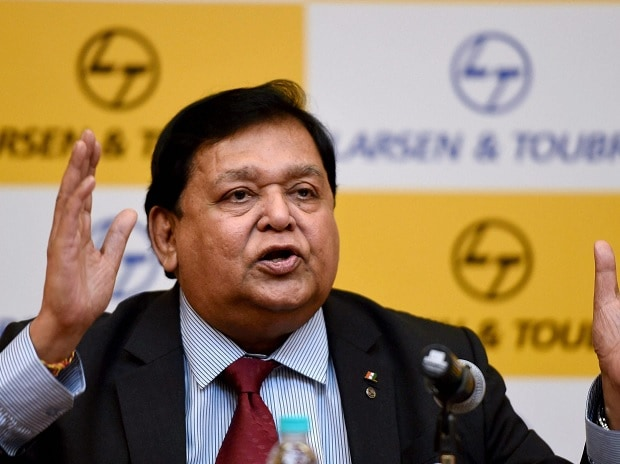 Group Executive Chairman of Larsen & Toubro A M Naik speaks during a press conference announcing the Q4 financial results of the company in Mumbai on Monday. Photo: PTI