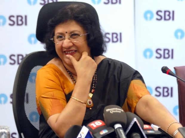 Arundhati Bhattacharya, chairman, SBI at a press conference in Mumbai. Photo: Kamlesh Pednekar