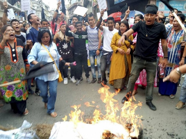Gorkha Janmukti Morcha (GJM) supporters  during their protest in Darjeeling