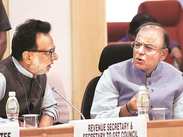 Union Finance Minister Arun Jaitley (right) and Revenue Secretary Hasmukh Adhia during the 16th GST Council meeting at Vigyan Bhavan in New Delhi on Sunday