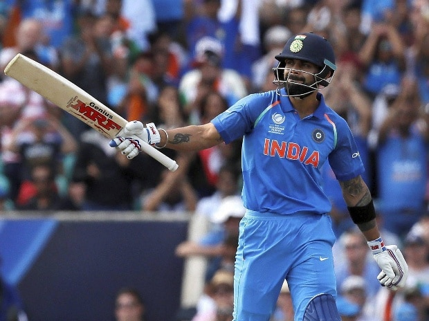 India's captain Virat Kohli celebrates scoring 50 runs during the ICC Champions Trophy match between India and South Africa at The Oval cricket ground in London. Photo: AP/PTI