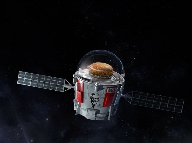 KFC Zinger chicken burger, KFC Zinger chicken burger  in space