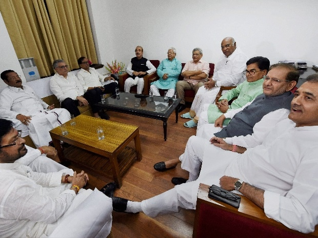 Senior Congress leaders Ghulam Nabi Azad and Mallikarjun Kharge, CPI(M) General Secretary Sitaram Yechury, RJD leader Lalu Prasad, Samajwadi Party's Ramgopal Yadav, NCP's Praful Patel and other opposition leaders in a meeting to discuss the strategy