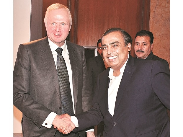 RIL CMD Mukesh Ambani (right) with BP Group Chief Executive Bob Dudley at a press conference in New Delhi on Thursday. Ambani said demand for fuel was expected to grow by 5-7% every year over the next decade. Photo: Sanjay K Sharma