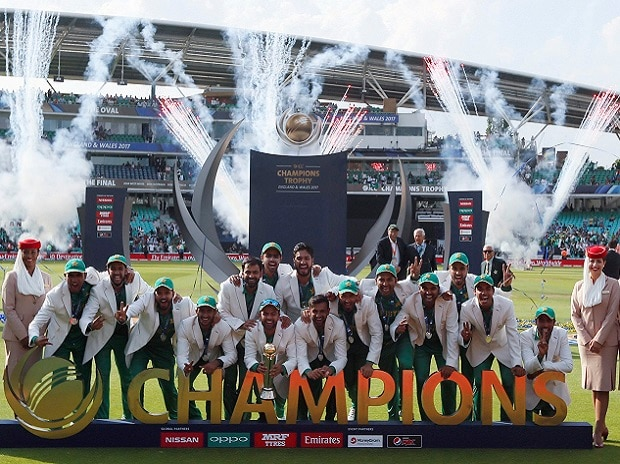 Pakistan players celebrate during the award ceremony for the ICC Champions Trophy at The Oval in London. Photo: AP/PTI
