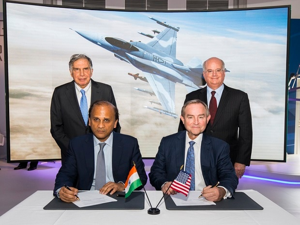 (Seated left to right) Mr. Sukaran Singh, CEO & MD of Tata Advanced Systems Limited, and Mr. George Standridge, Vice President of Strategy and Business Development, Lockheed Martin Aeronautics, sign a letter of intent to produce the F-16 Block 70 in