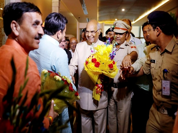 BJP leaders receive Bihar Governor Ram Nath Kovind with bouquets upon his arrival at the airport in New Delhi. Photo: PTI