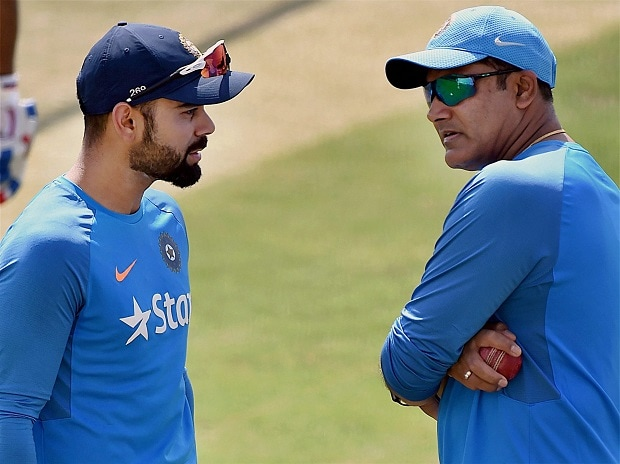 Indian cricket captain Virat Kohli along with team coach Anil Kumble during a practice session in Dharamshala. Kumble has decided to step down as head coach of Indian cricket team. File Photo: PTI